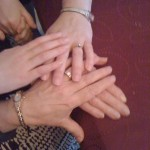 Hands of my daughter, myself, my mother and Mamaw.